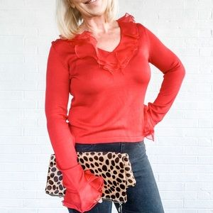 Cynthia Howie Ruffle Red Blouse SP